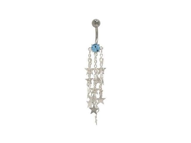 Dangle Stars Belly Button Ring with Blue Cz Gem