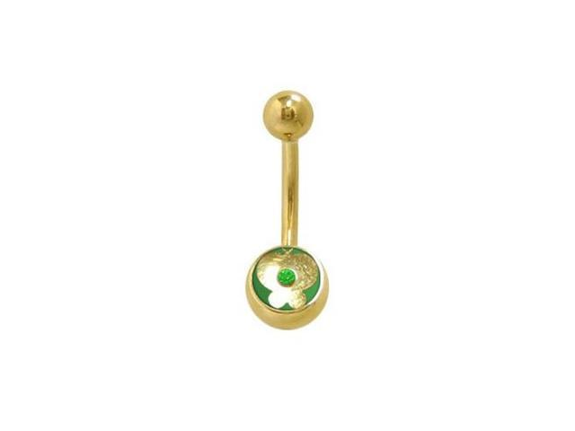 14k Gold Plated Butterfly Belly Ring with Green Jewel