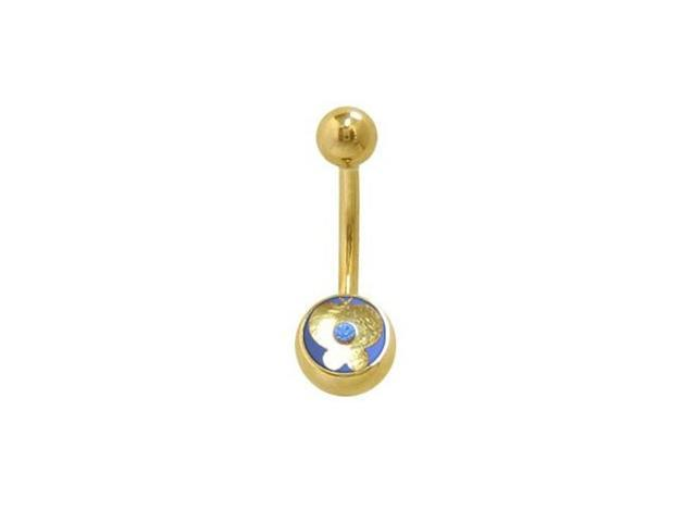 14k Gold Plated Butterfly Belly Ring with Light Blue Jewel