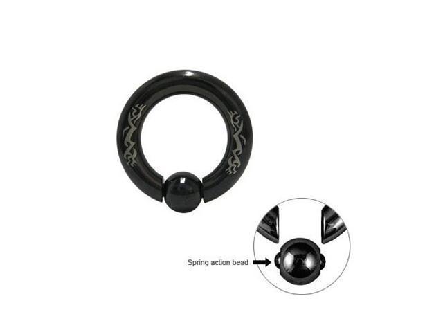 Black Anodized Titanium Captive Bead Ring with Spring Bead - 4G