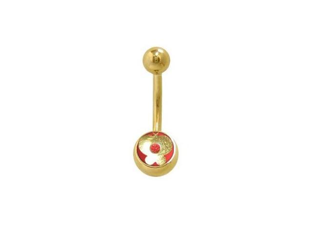 14k Gold Plated Butterfly Belly Ring with Red Jewel