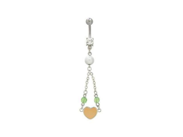 Dangler Light Orange Pastel Heart Belly Button Ring