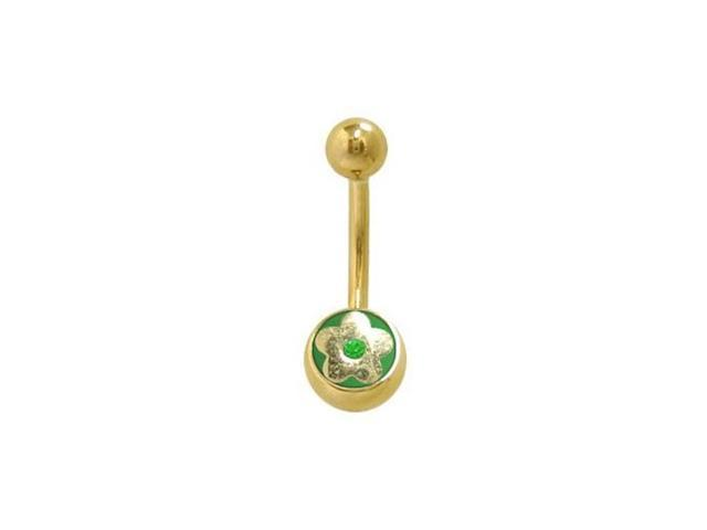 14k Gold Plated Flower Belly Ring with Green Jewel