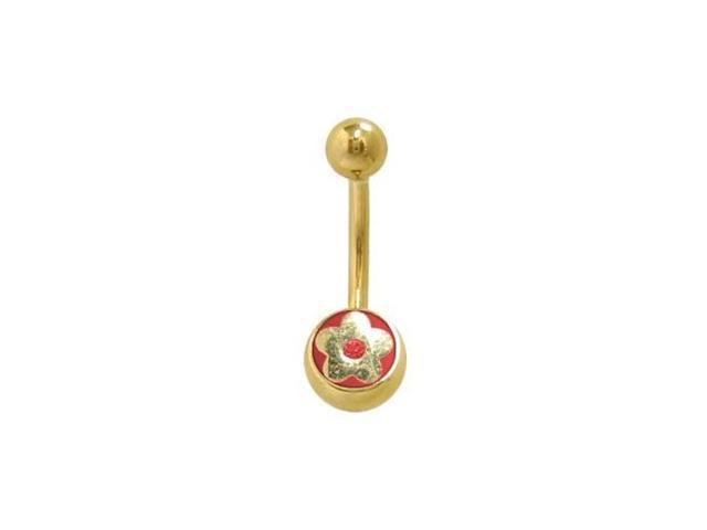 14k Gold Plated Flower Belly Ring with Red Jewel