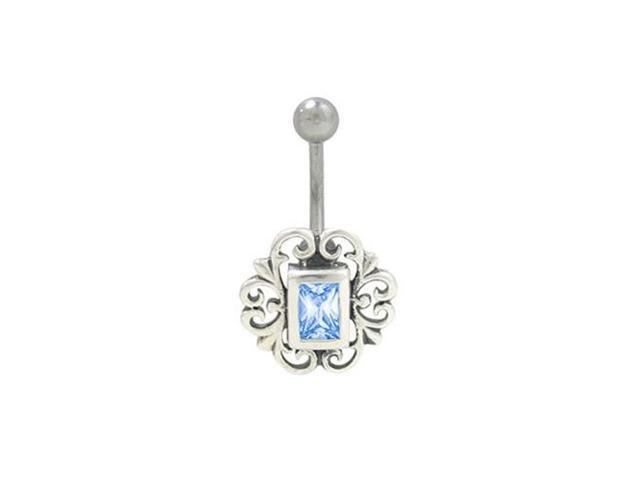 Antique Flower Design Belly Ring with Blue Jewel