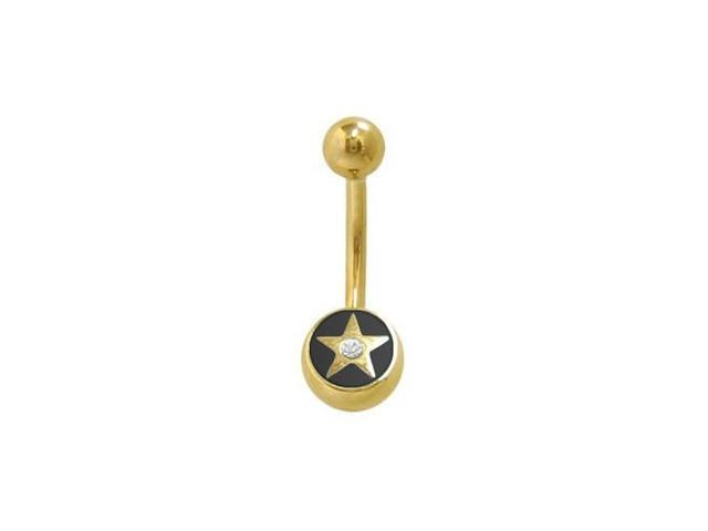 14k Gold Plated Star Belly Ring with Clear Jewel