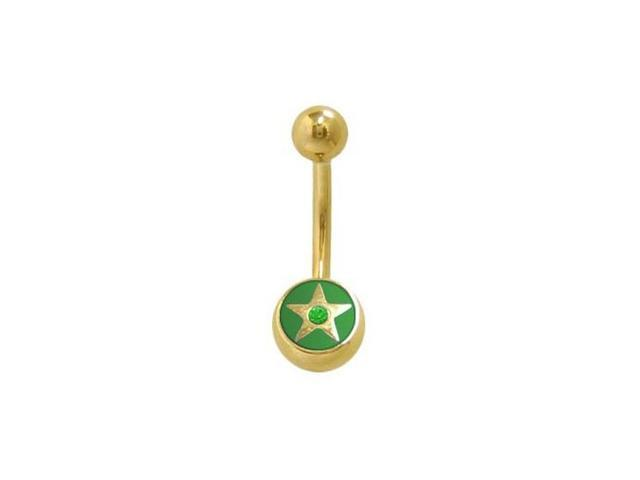 14k Gold Plated Star Belly Ring with Green Jewel