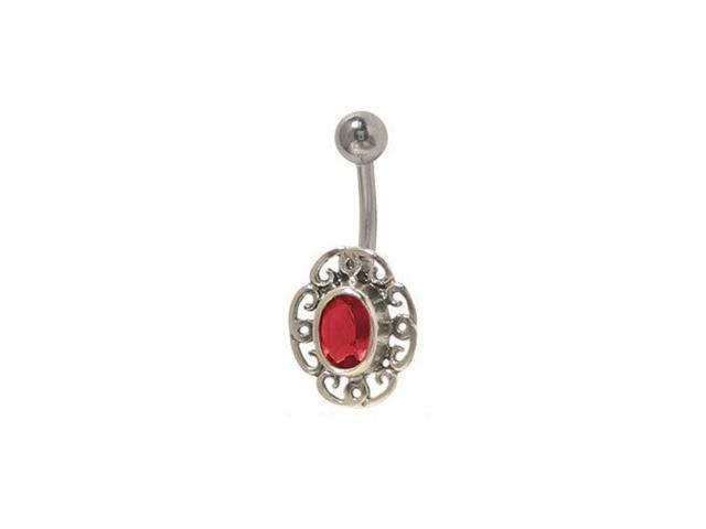 Flower Belly Button Ring with Antique Red-Brown Jewel