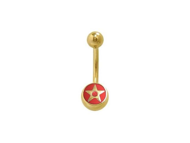 14k Gold Plated Star Belly Ring with Red Jewel