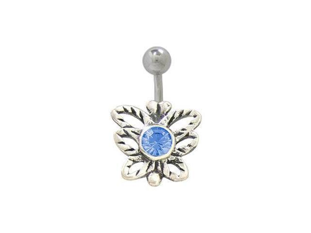 Sterling Silver Butterfly Belly Ring with Blue Jewel