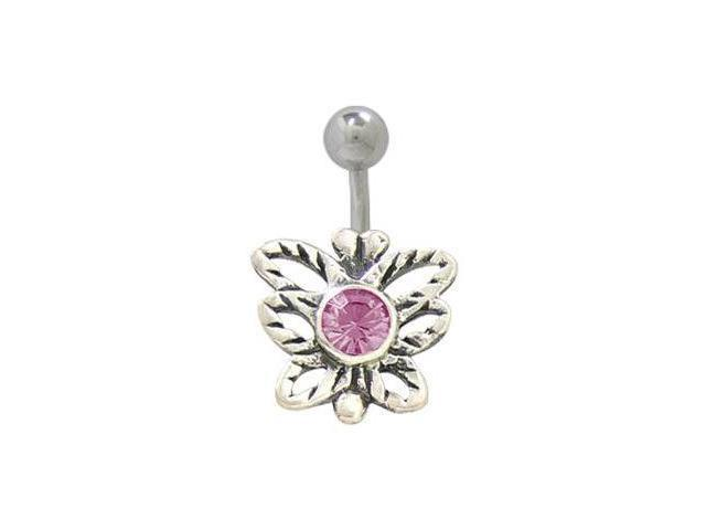 Sterling Silver Butterfly Belly Ring with Purple Jewel