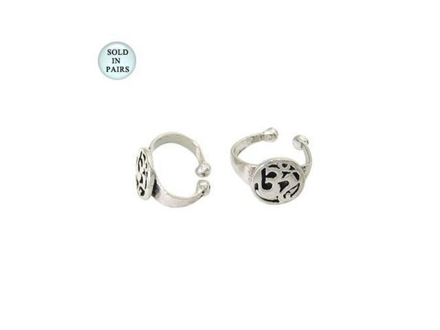 Aum Symbol Ear Cuffs Sterling Silver