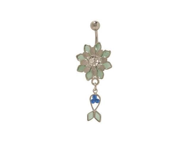 Flower Pastel Dangle Fish Belly Button Ring with Blue Jewels