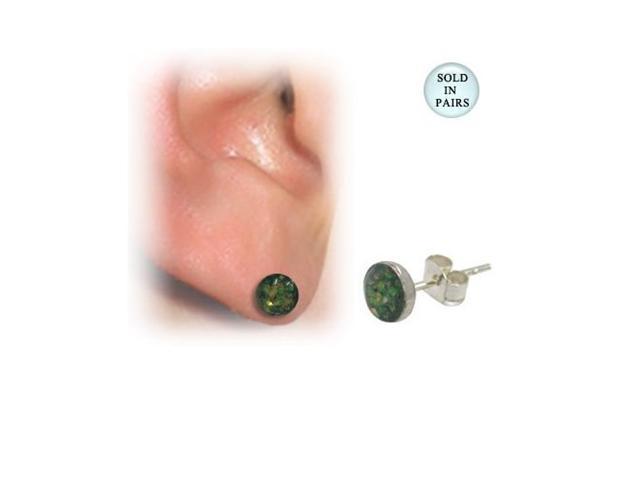 Sterling Silver Green Glitter Design Ear Studs