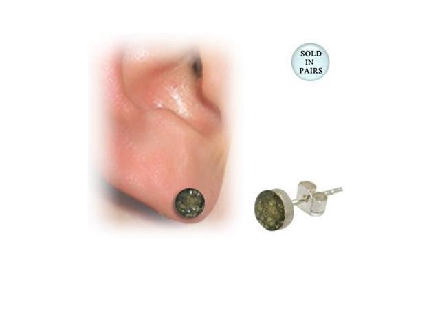 Sterling Silver Yellow Glitter Ball Design Ear Studs
