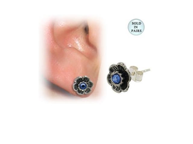 Sterling Silver Flower Ear Studs with Blue Gem