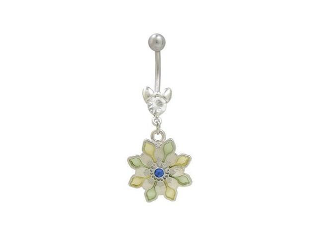Blue Jewel Pastel Flower Design Belly Button Ring