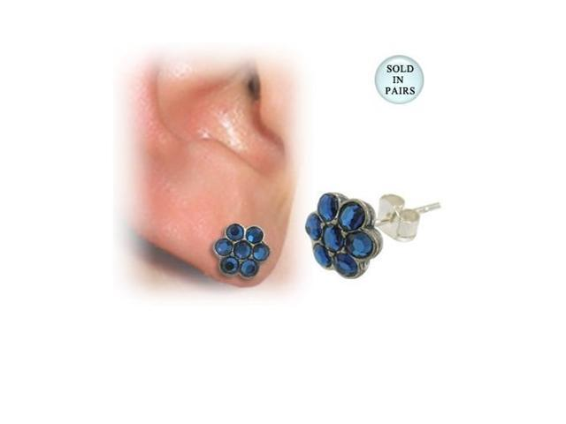 Sterling Silver Blue Jeweled Flower Design Stud Earrings