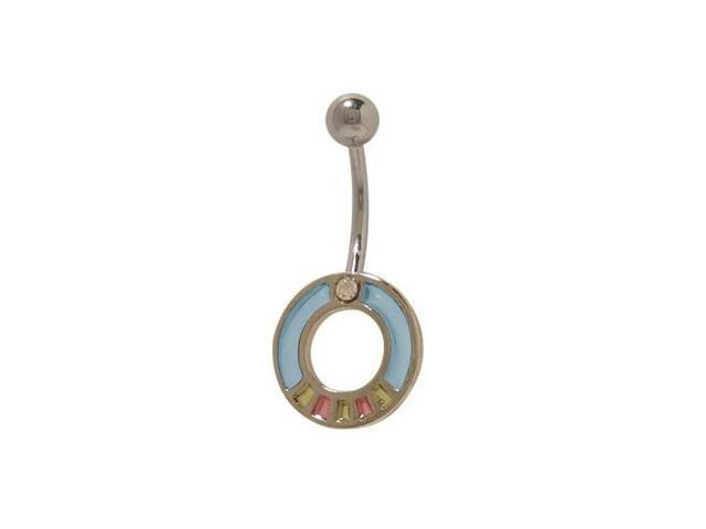 Blue Pastel Design Belly Button Ring