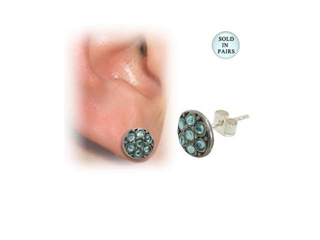 Sterling Silver Ear Studs with Light Blue Gems