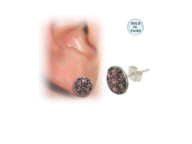 Sterling Silver Ear Studs with Pink Gems