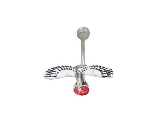 Eagle Belly Button Ring with Red Jewel