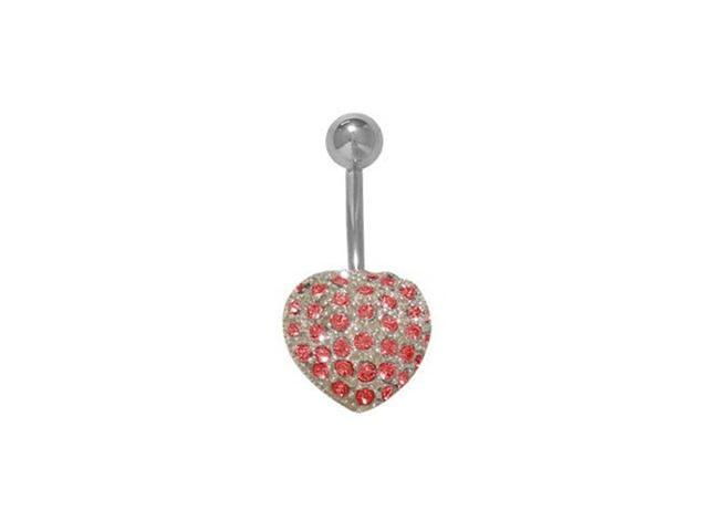 Red Jeweled Heart Belly Button Ring Surgical Steel Shaft