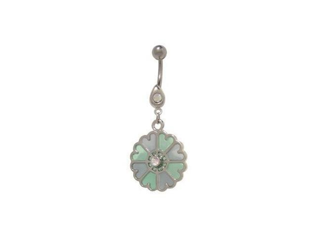 Pastel Flower Dangler Belly Button Ring (Blue/Green)