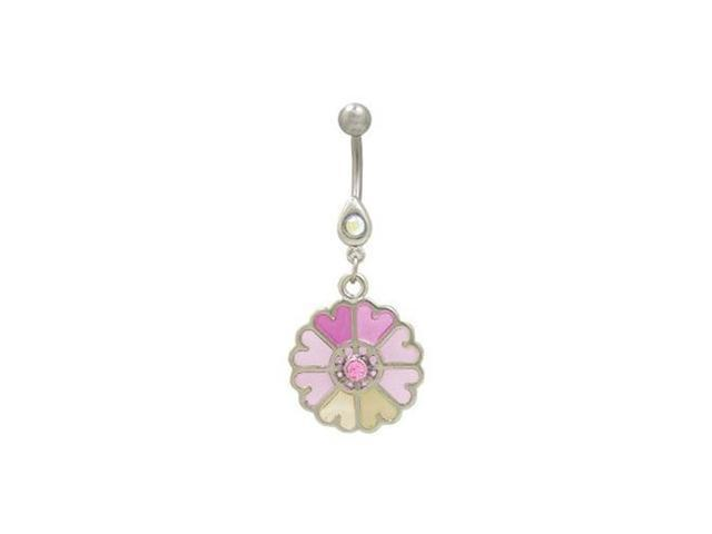 Pastel Flower Dangler Belly Button Ring (Pink)