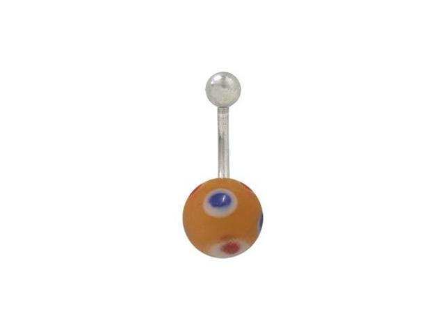 Painted Glass Ball Belly Button Ring