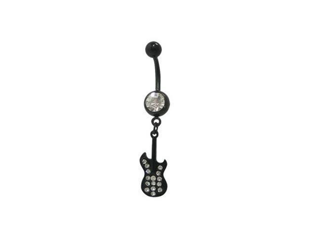 Dangling Guitar Belly Button Ring with Cz Jewels