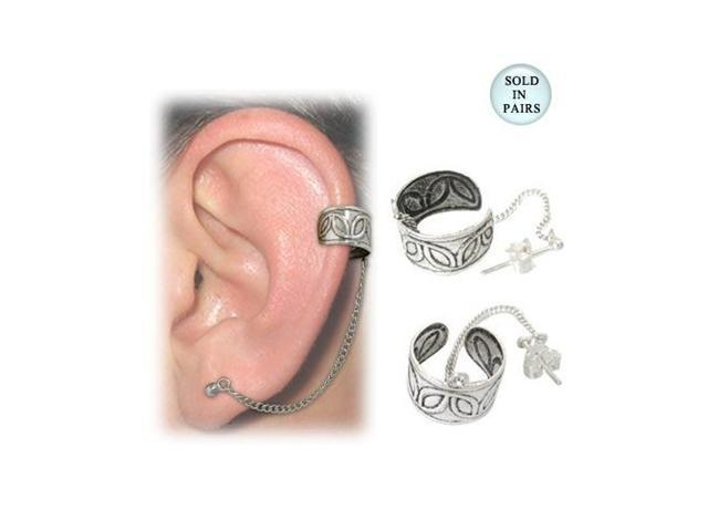 Flower Design Sterling Silver Ear Cuffs with Chain