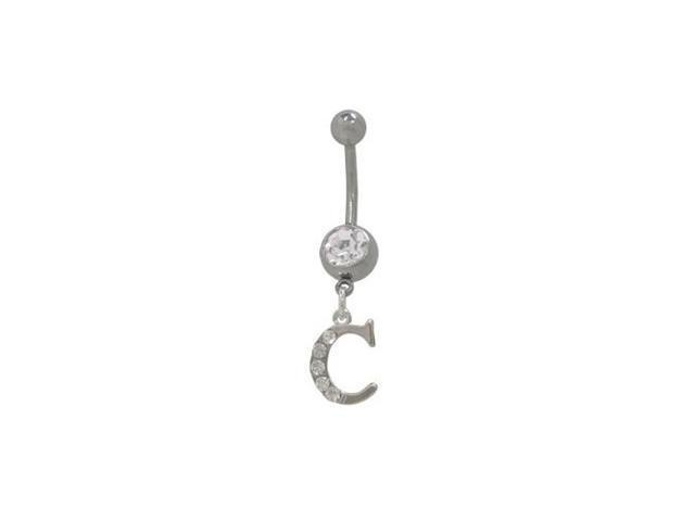 C Initial Dangler Belly Button Ring with Clear Jewels