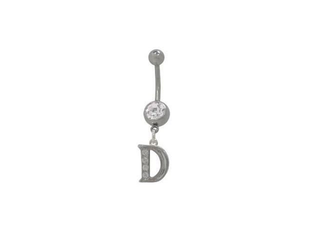 D Initial Dangler Belly Button Ring with Clear Jewels