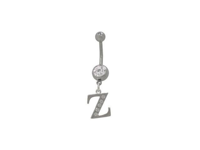 Initial Z Dangler Belly Ring with Cz Jewels