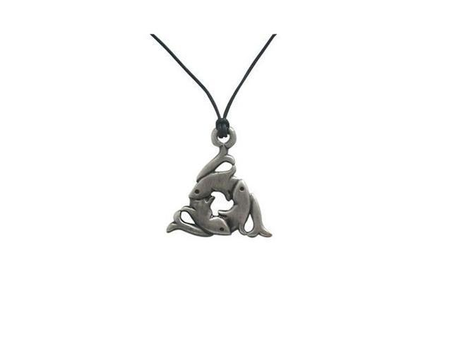 Fish Trinity Pendant Necklace Silver Plated