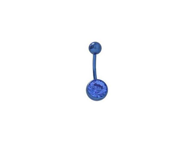 Blue Titanium Belly Ring with Matching Jewel