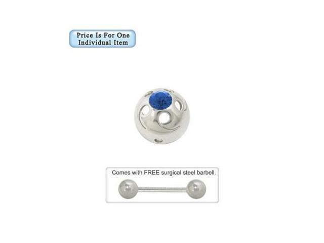 Nipple Shield in Sterling Silver Cap Design with Blue Jewel