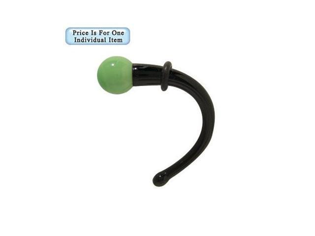Black and Green Glass Ear Stretcher - 2 Gauge