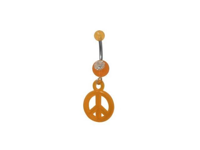 Dangling Orange UV Acrylic Peace Sign Belly Ring