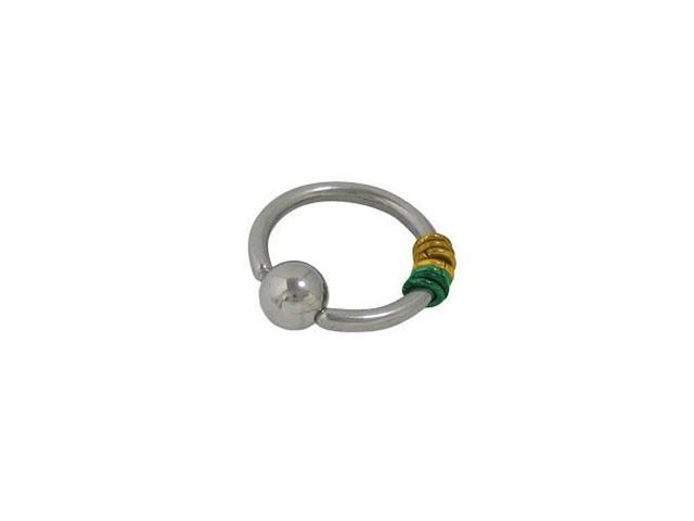 Surgical Steel Captive Bead Ring with Green & Gold Color Hoops