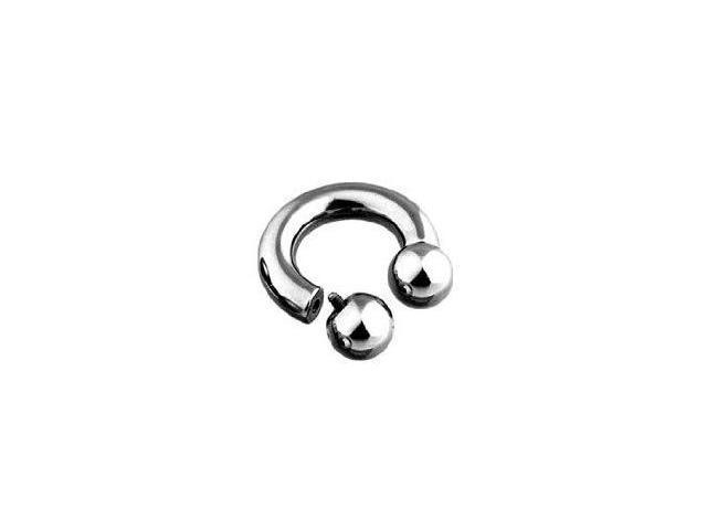 Surgical Steel Horse Shoe Ring Internal Thread Ball Beads 0 Gauge 15mm