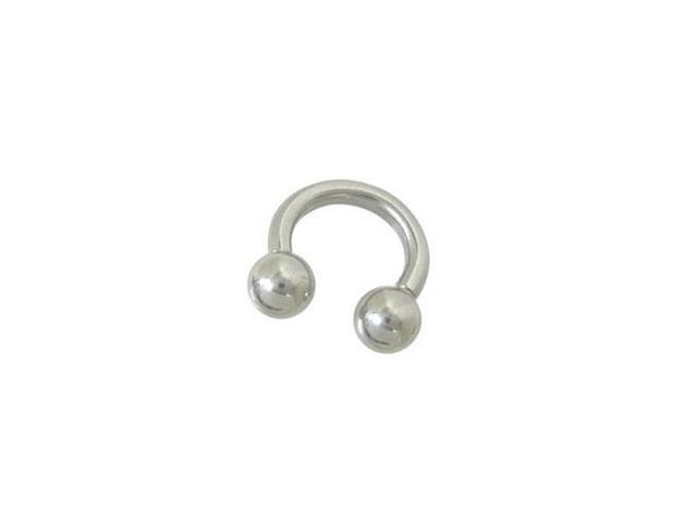 Surgical Steel Horse Shoe Ring with Ball Beads - 4 Gauge 15mm