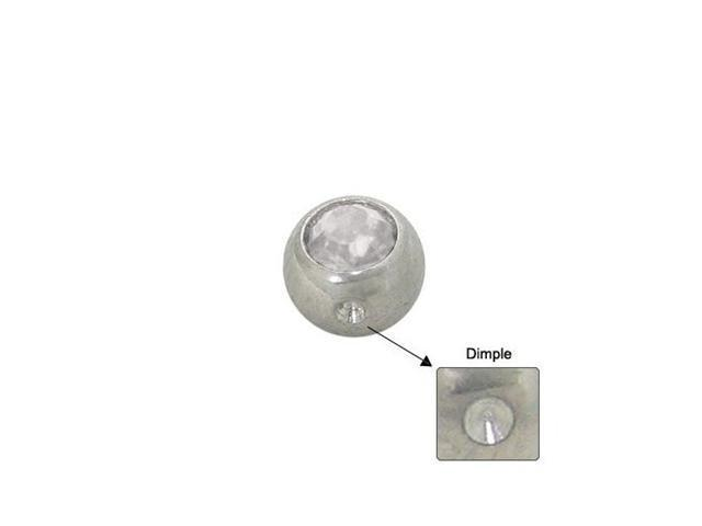 Surgical Steel Replacement Dimple Bead (5mm) with Clear Jewel
