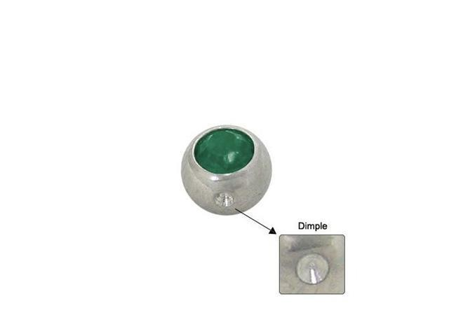 Surgical Steel Replacement Dimple Bead (5mm) with Green Jewel