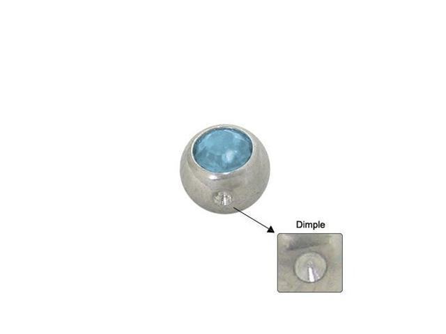 Surgical Steel Replacement Dimple Bead (5mm) with Light Blue Jewel