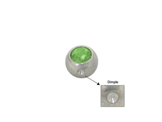 Surgical Steel Replacement Dimple Bead (5mm) with Light Green Jewel