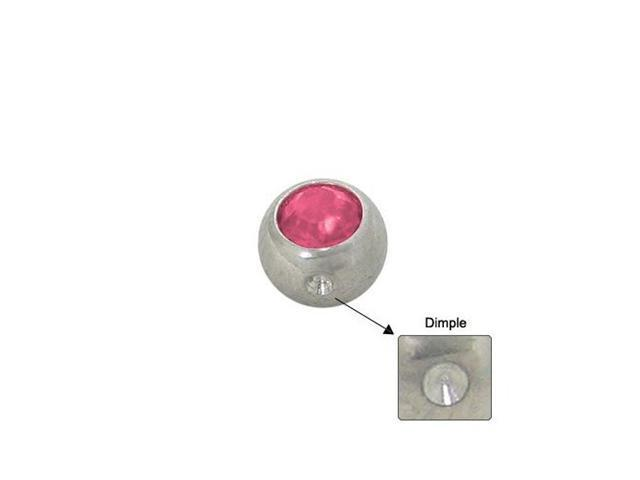 Surgical Steel Replacement Dimple Bead (5mm) with Pink Jewel