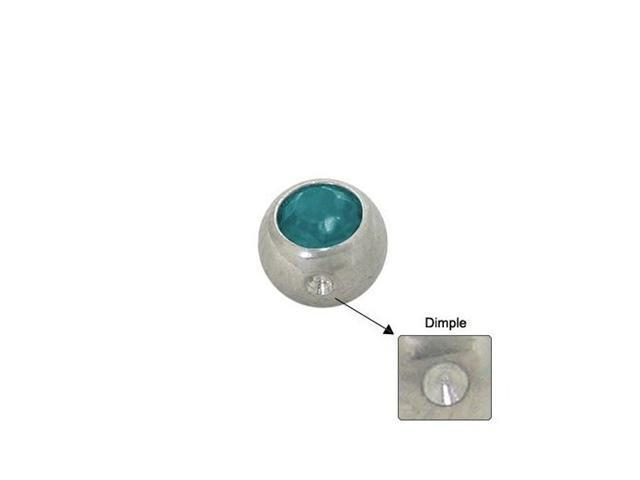 Surgical Steel Replacement Dimple Bead (5mm) with Turquoise Jewel
