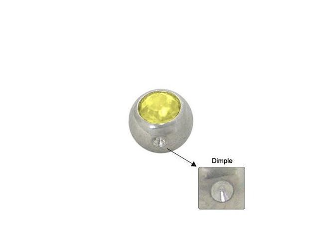 Surgical Steel Replacement Dimple Bead (5mm) with Yellow Jewel
